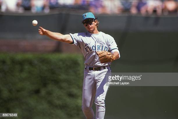 Bret Barberie of the Florida Marlins fields a ground ball during a baseball game against the Chicago Cubs on June 1 1993 at Wrigley Field in Chicago...