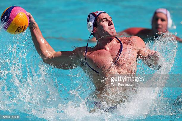 Bret Bonanni of United States shoots the ball against Croatia during the Men's Water Polo Preliminary Round Group B match between the United States...