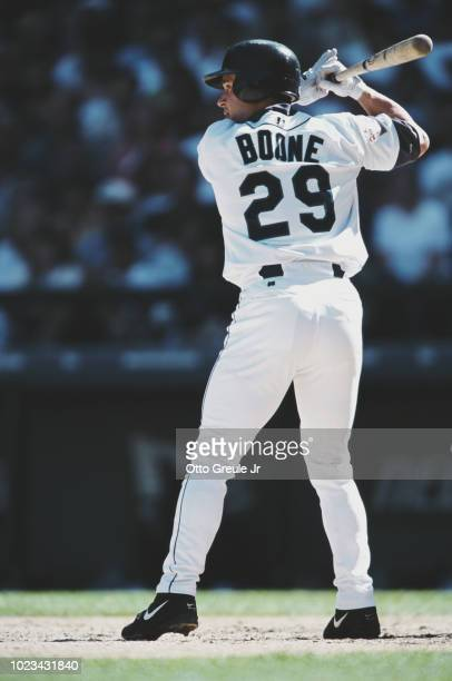 Bret Boone and Second Baseman for the Seattle Mariners at bat during the Major League Baseball American League West game against the Baltimore...