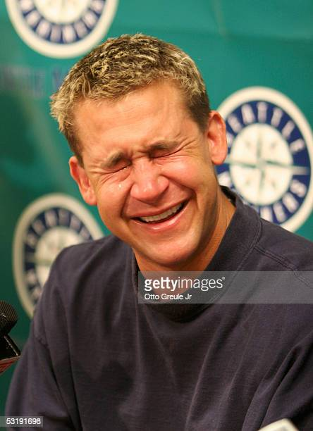 Bret Boone of the Seattle Mariners tears up during a press conference announcing he has been designated for assignment by the Mariners after a 21...
