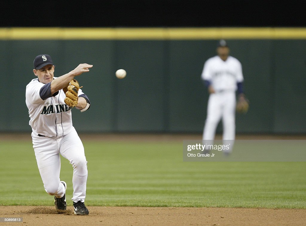 Bret Boone #29 of the Seattle Mariners throws to first base against the Baltimore Orioles during their game on May 19, 2004 at Safeco Field in Seattle, Washington. The Orioles won 5-2.