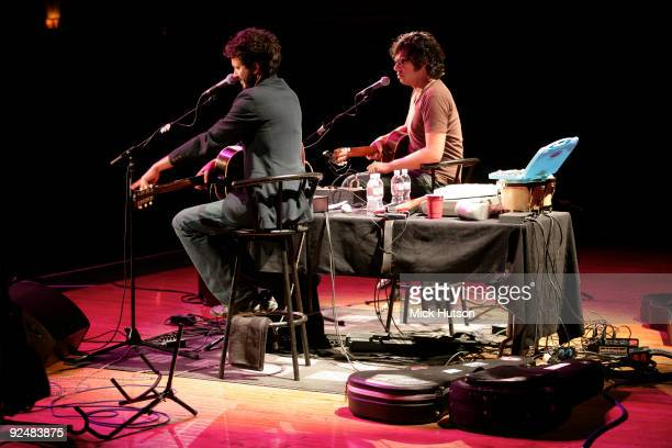 Bret McKenzie and Jemaine Clement of Flight Of The Conchords perform on stage at the Orpheum Theater on June 1st 2008 in Los Angeles California