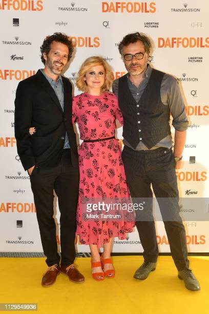 Bret McKenzie Rose McIver and Jemaine Clement attend the DAFFODILS World Premiere at The Embassy Theatre on February 14 2019 in Wellington New Zealand