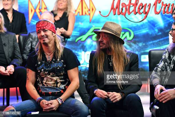 Bret Michaels and CC DeVille of Poison speak during the press conference for THE STADIUM TOUR DEF LEPPARD MOTLEY CRUE POISON at SiriusXM Studios on...