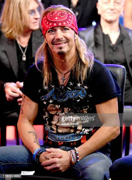 Bret Michaels appears onstage at a press conference with Mötley Crüe Def Leppard and Poison announcing their 2020 Stadium Tour on December 04 2019 in...