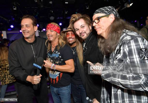 Bret Michaels CC DeVille Rikki Rockett and Bobby Dall of Poison attend the press conference for THE STADIUM TOUR DEF LEPPARD MOTLEY CRUE POISON at...