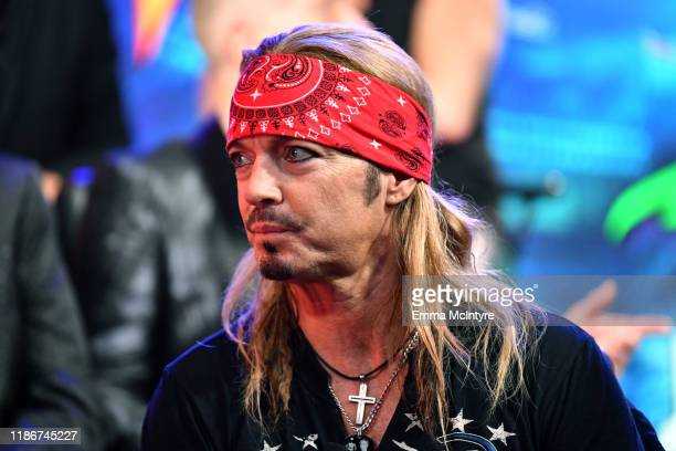 Bret Michaels of Poison speaks during the press conference for THE STADIUM TOUR DEF LEPPARD MOTLEY CRUE POISON at SiriusXM Studios on December 04...