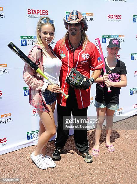 Bret Michaels poses with his daugthers Raine Elizabeth Sychak and Jorja Bleu Sychak at the 26th Annual City of Hope Celebrity Softball Game at First...