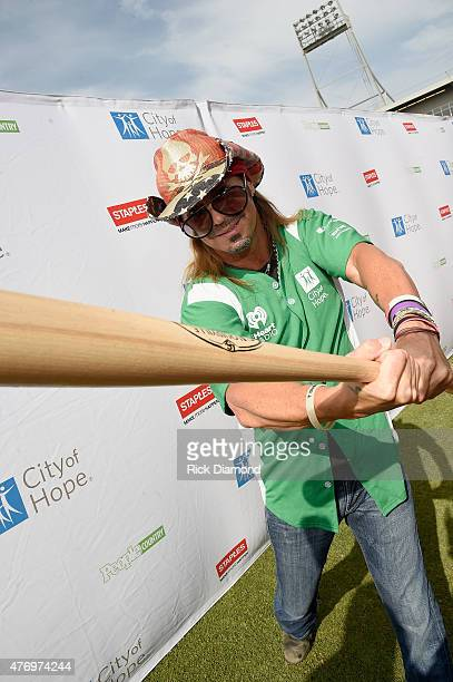 Bret Michaels steps up to strike out cancer at City of Hope's 25th Annual Celebrity Softball Game at First Tennessee Park on June 13 2015 in...