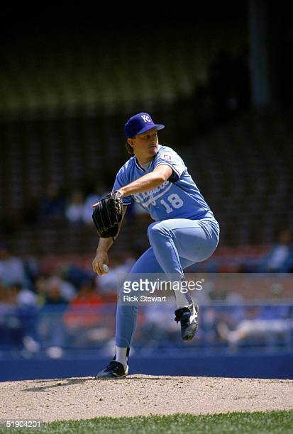 Bret Saberhagen of the Kansas City Royals delivers a pitch during a game in 1990 season.