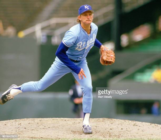 Bret Saberhagen of the Kansas City Royals pitches during an MLB game versus the Chicago White Sox at Comiskey Park in Chicago Illinois during the...