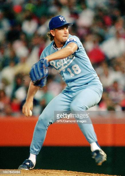 Bret Saberhagen of the Kansas City Royals pitching during a game from his 1990 season with the Kansas City Royals Bret Saberhagen played for 16 years...