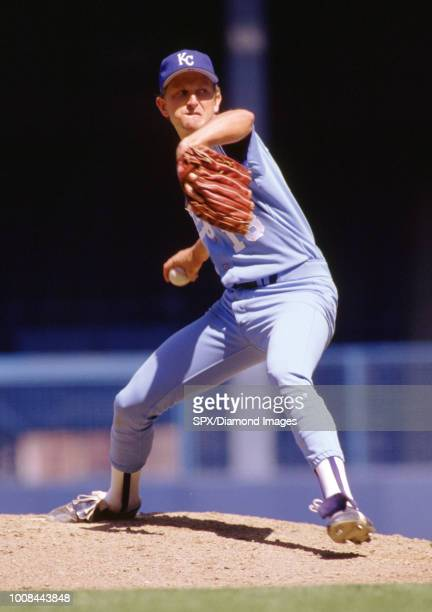 Bret Saberhagen of the Kansas City Royals pitching during a game from his 1987 season with the Kansas City Royals Bret Saberhagen played for 16 years...