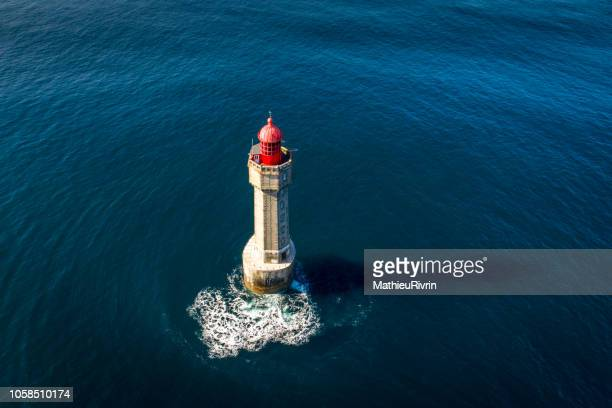 bretagne from the sky : ouessant and jument lighthouse - phare photos et images de collection