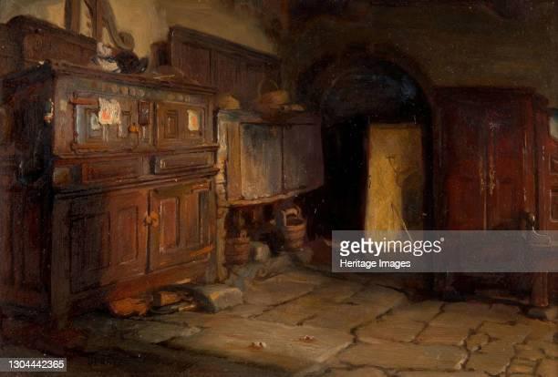 Breton Cottage Interior, 1887. Artist Jonathon Pratt.