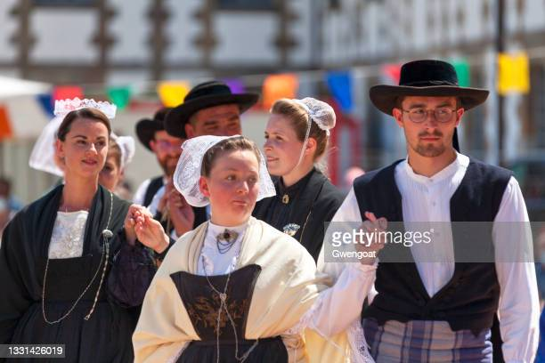 breton dancers in traditional costume - gwengoat stock pictures, royalty-free photos & images