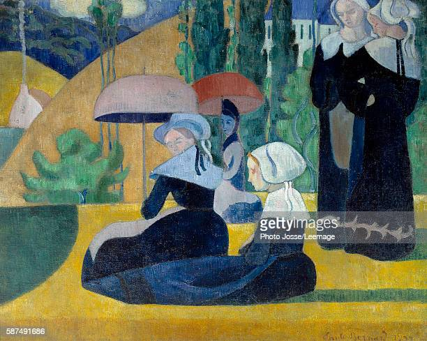 Breton women with umbrellas 1892 Painting by Emile Bernard 081 x 105 m Orsay Museum Paris