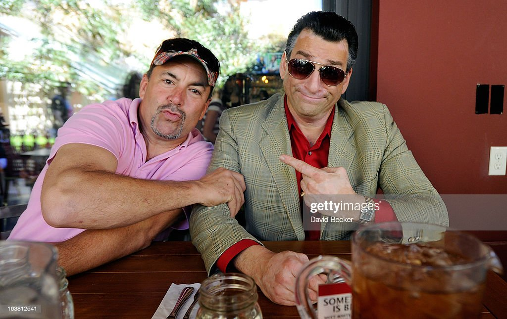 Brett Anderson and Robert 'De Niro' Nash appear at the meatball eating contest at the Meatball Spot on March 16, 2013 in Las Vegas, Nevada.