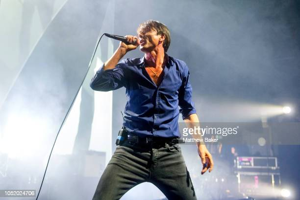 Brett Anderson of Suede performs at Eventim Apollo on October 12 2018 in London England