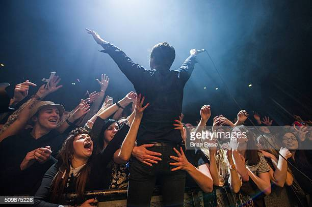 Brett Anderson of Suede performs at O2 Forum Kentish Town on February 12 2016 in London England