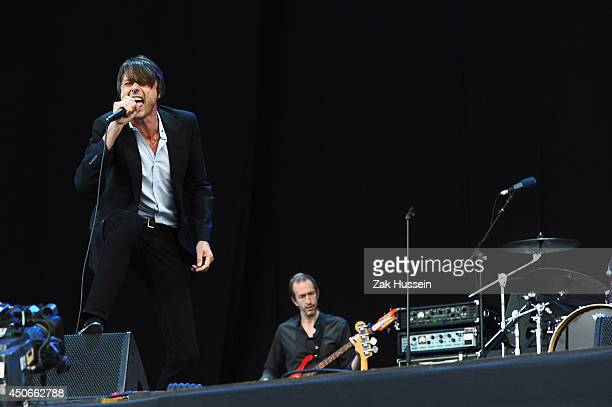 Brett Anderson of Suede performs at The Isle of Wight Festival at Seaclose Park on June 15 2014 in Newport Isle of Wight