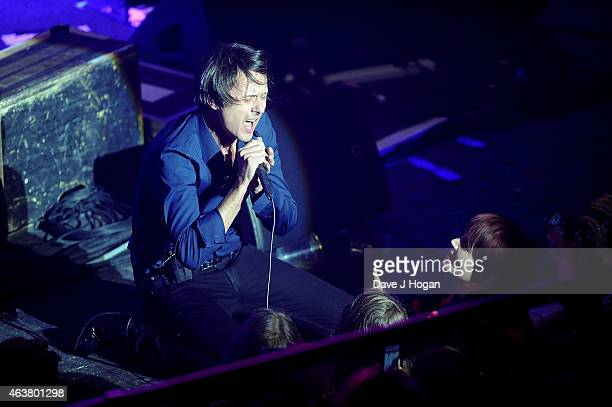Brett Anderson of Suede performs at the NME Awards at Brixton Academy on February 18 2015 in London England