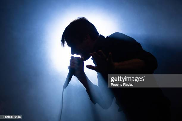 Brett Anderson of Suede performs on stage at Kelvingrove Park on July 31, 2019 in Glasgow, Scotland.