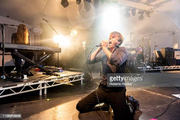 Brett Anderson of Suede performs on stage at Kelvingrove Park on July 31 2019 in Glasgow Scotland