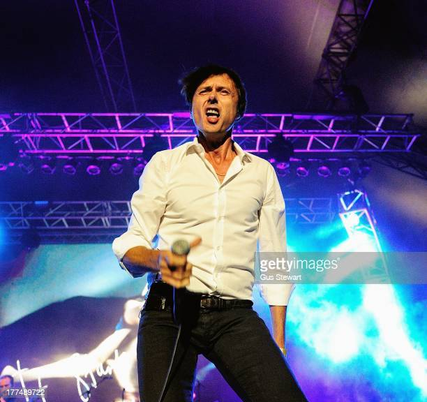 Brett Anderson of Suede performs on stage at Kenwood House on August 23 2013 in London England