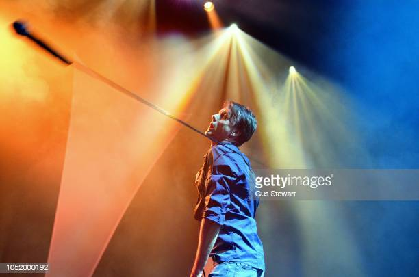 Brett Anderson of Suede performs on stage at the Eventim Apollo on October 12 2018 in London England