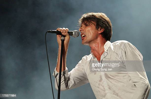 Brett Anderson of Suede performs on stage during day 2 of the Pentaport Rock Festival on August 3 2013 in Incheon South Korea