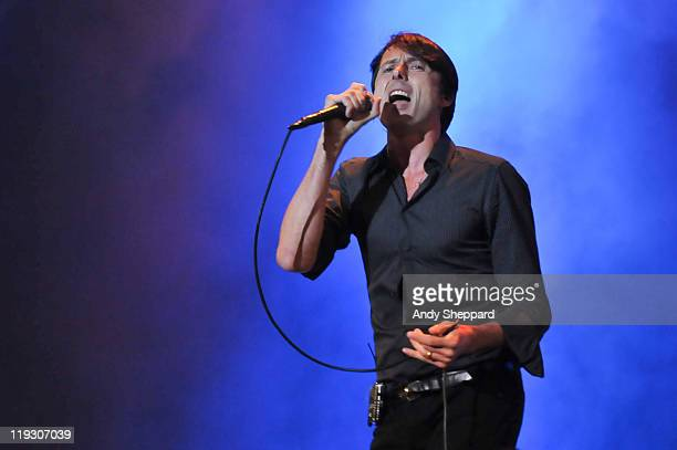 Brett Anderson of Suede performs on stage during the third and final day of Latitude Festival 2011 at Henham Park Estate on July 17 2011 in Southwold...