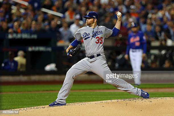Brett Anderson of the Los Angeles Dodgers throws a pitch in the first inning against the New York Mets during game three of the National League...