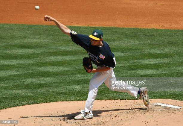 Brett Anderson of the Oakland A's playing for the United States Olympic Team pitches against the World Futures Team during the 2008 XM All-Star...