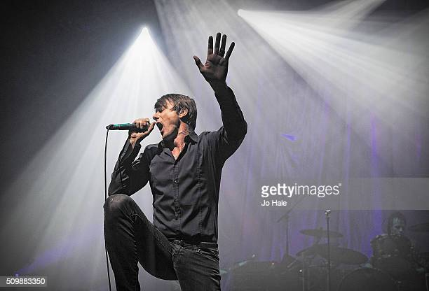 Brett Anderson Suede performs on stage at the O2 Forum Kentish Town on February 12 2016 in London England