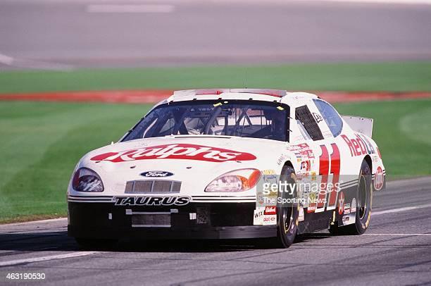 Brett Bodine drives his car during the Daytona 500 at the Daytona International Speedway on February 16 2001 in Daytona Beach Florida