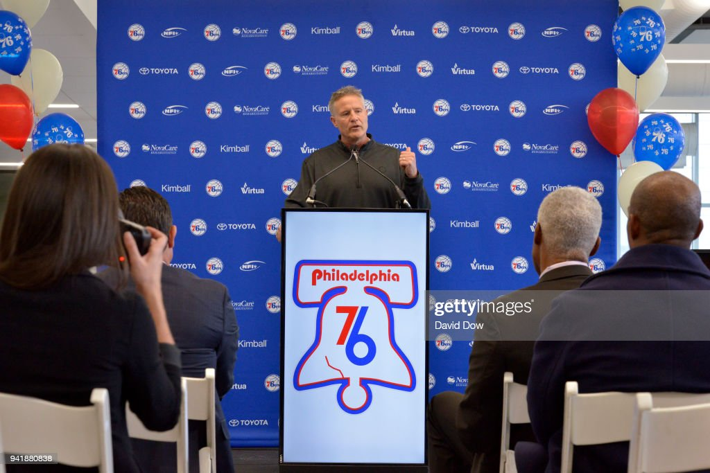 Brett Brown talks to the media during the announment of the unveiling of the Doctor J sculpture on April 3, 2018 at the Legends Walk at the practice facility in Camden, New Jersey.