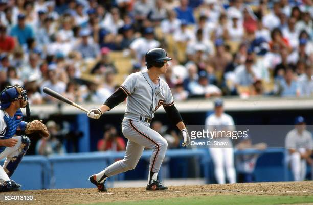 Brett Butler of the San Francisco Giants bats against the Los Angeles Dodgers at Dodger Stadium circa 1988 in Los Angeles California