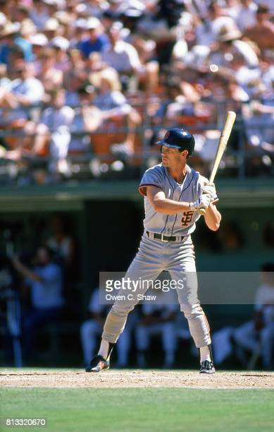 Brett Butler of the San Francisco Giants bats against the San Diego Padres at Jack Murphy Stadium circa 1988 in San Diego California