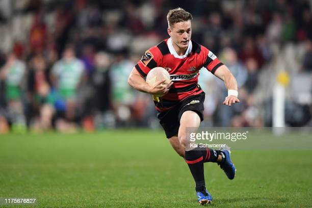 Brett Cameron of Canterbury charges forward during the round 7 Mitre 10 Cup match between Canterbury and Manawatu at Orangetheory Stadium on...