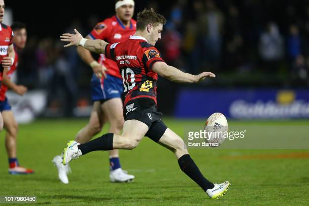 Brett Cameron of Canterbury clears the ball during the round one Mitre 10 Cup match between Tasman and Canterbury on August 17 2018 in Blenheim New...
