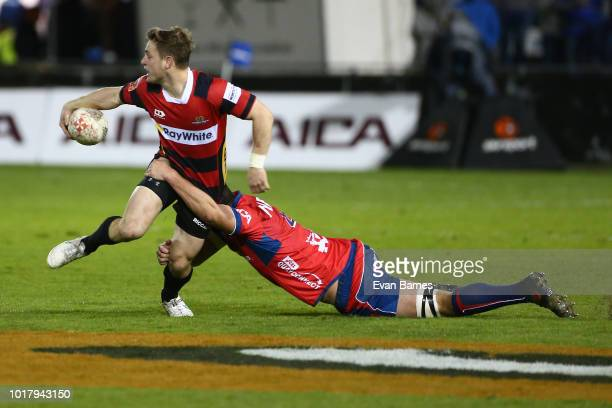 Brett Cameron of Canterbury tries to break the defence during the round one Mitre 10 Cup match between Tasman and Canterbury on August 17 2018 in...