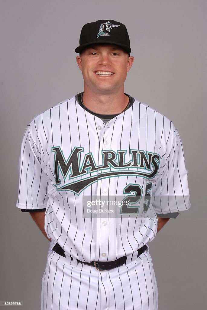 Brett Carroll of the Florida Marlins poses during Photo Day on Sunday, February 22, 2009 at Roger Dean Stadium in Jupiter, Florida.