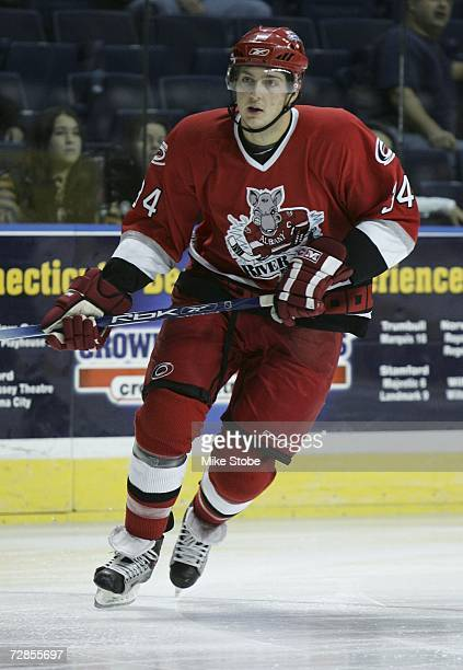 Brett Carson of the Albany River Rats skates against the Bridgeport Sound Tigers at the Arena at Harbor Yard on November 26, 2006 in Bridgeport,...