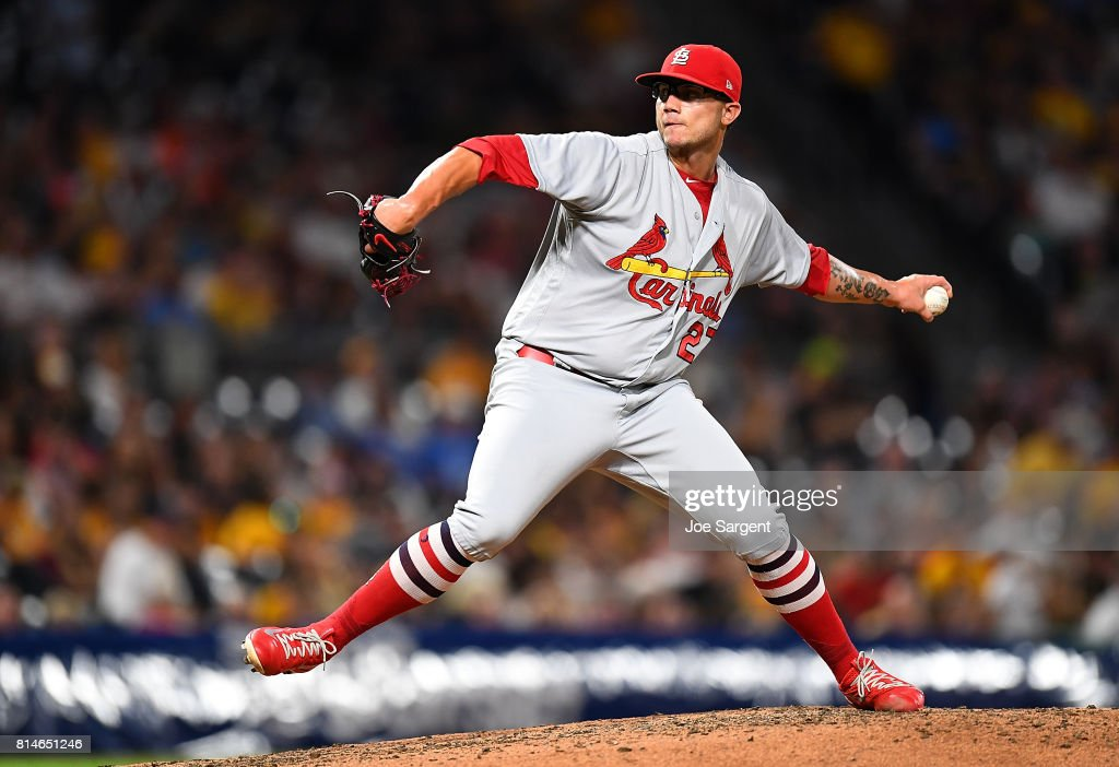 Brett Cecil #27 of the St. Louis Cardinals pitches during the seventh inning against the Pittsburgh Pirates at PNC Park on July 14, 2017 in Pittsburgh, Pennsylvania.