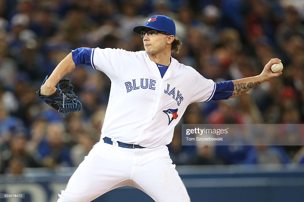 Brett Cecil #27 of the Toronto Blue Jays delivers a pitch in the seventh inning during MLB game action against the Chicago White Sox on April 25, 2016 at Rogers Centre in Toronto, Ontario, Canada.