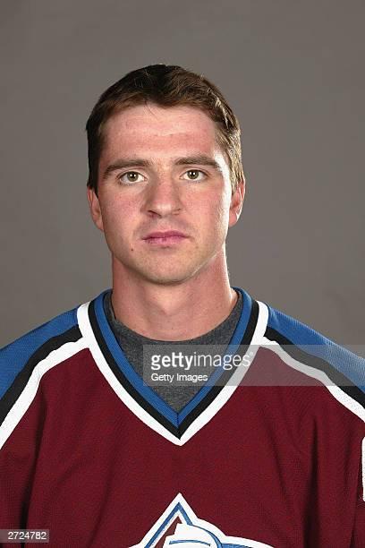 Brett Clark of the Colorado Avalanche poses for a portrait on September 15 2003 at Pepsi Center in Denver Colorado