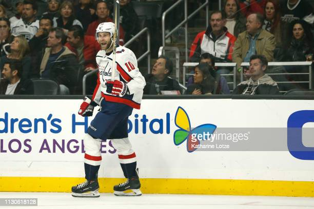 Brett Connolly of the Washington Capitals celebrates a goal against the Los Angeles Kings during the first period at Staples Center on February 18...