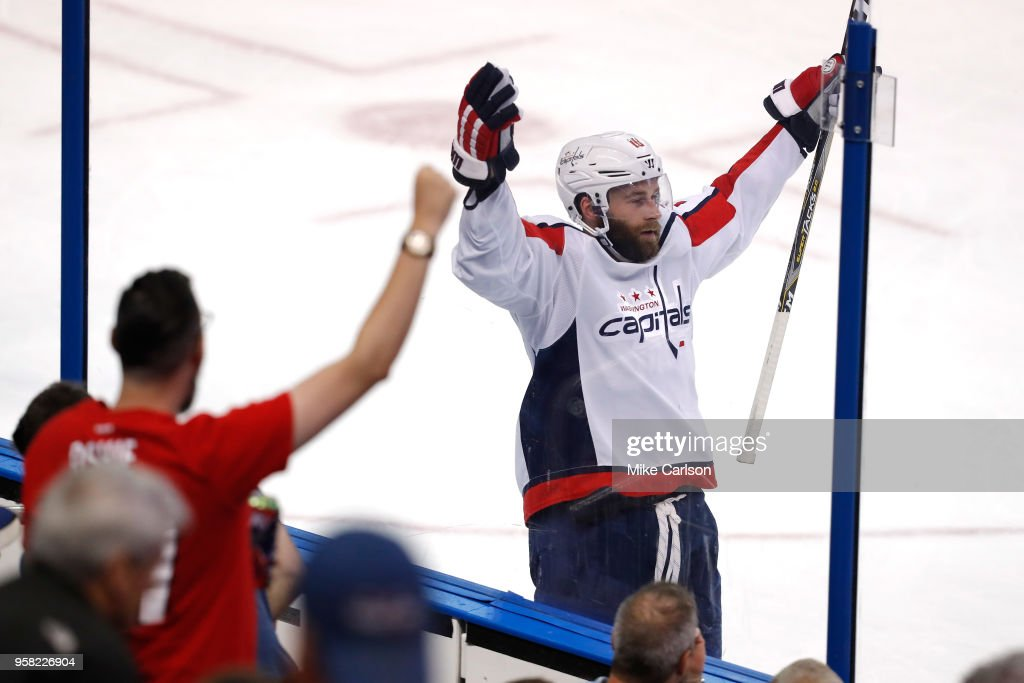 Brett Connolly #10 of the Washington Capitals celebrates after scoring a goal against Andrei Vasilevskiy #88 of the Tampa Bay Lightning during the third period in Game Two of the Eastern Conference Finals during the 2018 NHL Stanley Cup Playoffs at Amalie Arena on May 13, 2018 in Tampa, Florida.