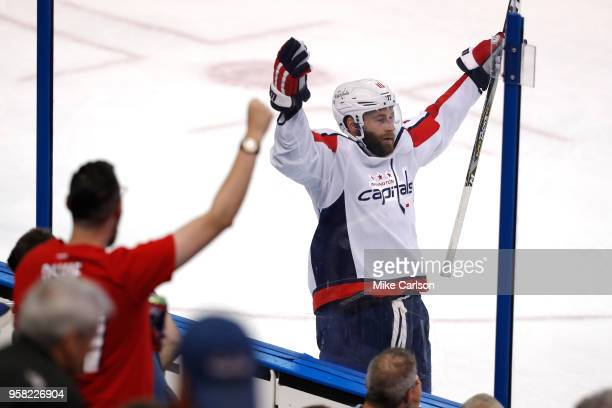 Brett Connolly of the Washington Capitals celebrates after scoring a goal against Andrei Vasilevskiy of the Tampa Bay Lightning during the third...